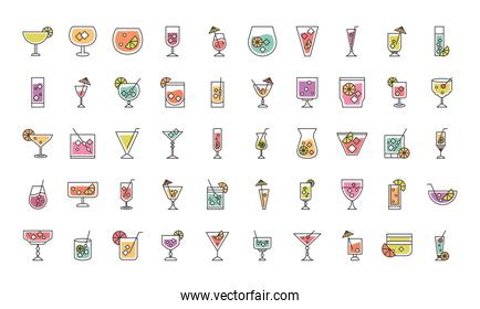 cocktail icon liquor alcoholic drinks beverages glass cups icons set