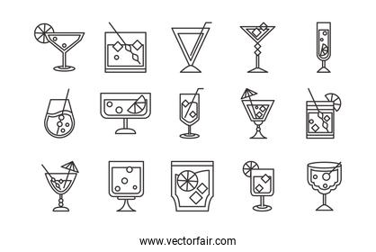 cocktail icon drink liquor refreshing alcohol glass cups party celebration icons set