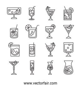 cocktail icon drink liquor refreshing alcohol glass cups celebration event party items set