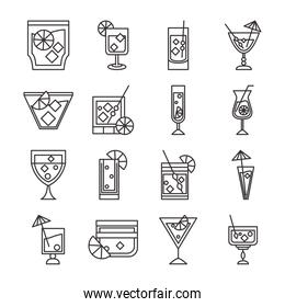 cocktail icon drink liquor alcohol glass cups delicious beverages icons set