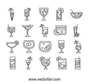 cocktail icon drink liquor refreshing alcohol glass cups items collection