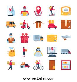 set of icons delivery and transportation goods