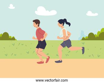 couple of people running or jogging, outdoor activity