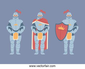 set of medieval knights in armor