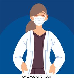 doctor female with face mask character
