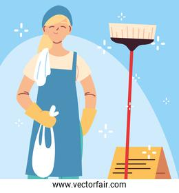 hygiene staff, woman with cleaning equipment