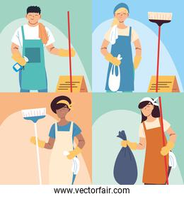 set of cleaning workers, professional cleaning staff, domestic cleaner worker and cleaners equipment