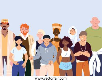 multicultural people, group of people in casual clothes standing