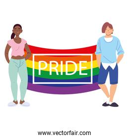 people with LGBTQ pride flag, equality and gay rights