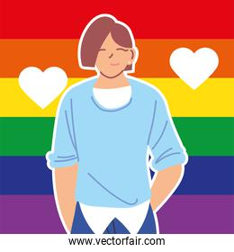 man with gay pride flag on background, LGBTQ