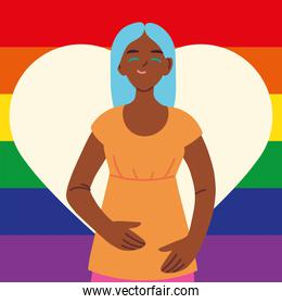 woman with gay pride flag on background, LGBTQ