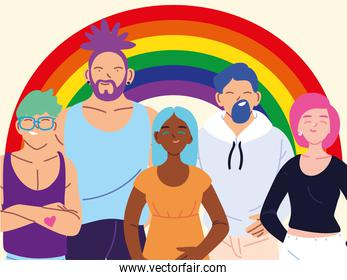 people with rainbow background, gay pride symbol