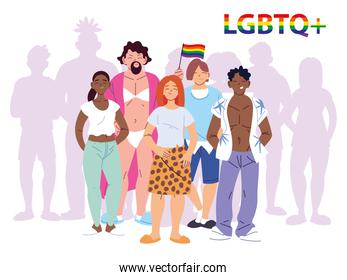 group of people with LGBTQ gay pride symbol, equality and gay rights