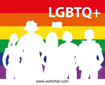 silhouette of people with rainbow background, gay pride symbol