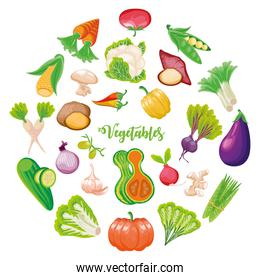 set of icons fruits and vegetables fresh