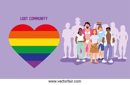 women and men cartoons with silhouettes and lgbti heart vector design
