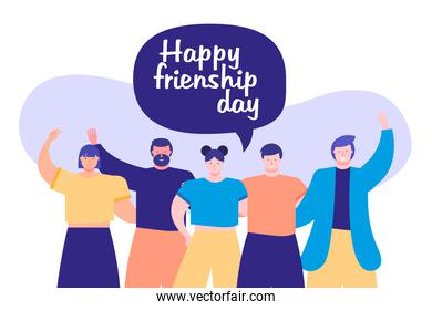 friendship day celebration with young people and speech bubble