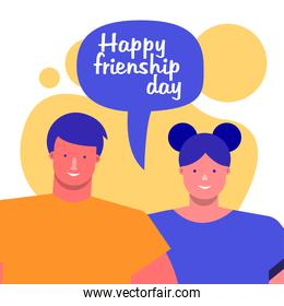 friendship day celebration with young couple and speech bubble