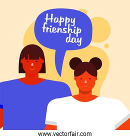friendship day celebration with young women couple and speech bubble