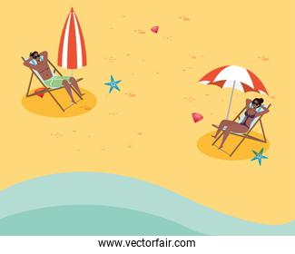 afro couple seated in beach chairs practicing social distance