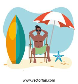 afro man wearing swimsuit seated in beach chair