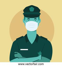 police officer wearing medical mask character