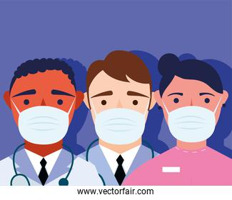 young male doctors staff wearing medical masks characters