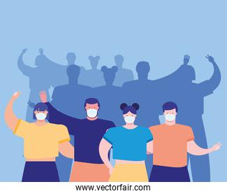 group of people wearing medical masks  in blue background