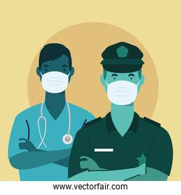 police officer and doctor wearing medical masks characters