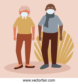 old parents wearing medical masks characters