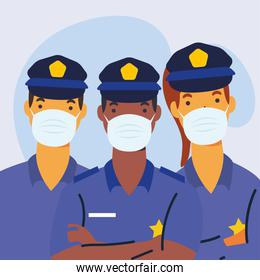 police officers wearing medical masks characters