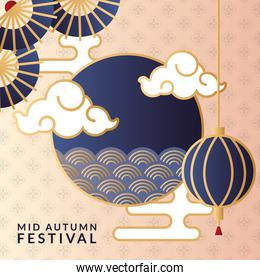 mid autumn festival poster with lamps hanging and clouds