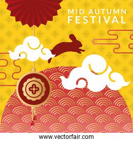 mid autumn festival poster with rabbit and clouds