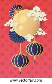 mid autumn festival poster with moon and clouds