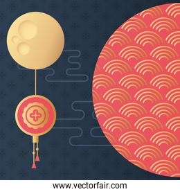 mid autumn festival poster with moon and lanterns hanging