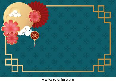 mid autumn festival poster with moon and flowers
