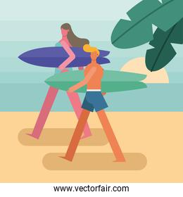 young couple wearing swimsuits walking with surfboards characters