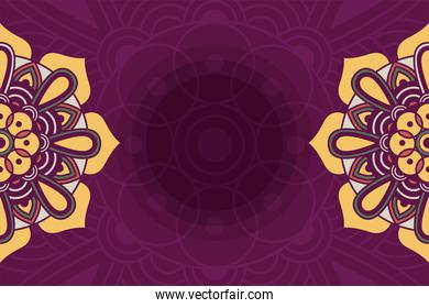 decorative floral mandala with purple background