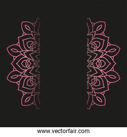 decorative floral monochrome mandala ethnicity frame in black background