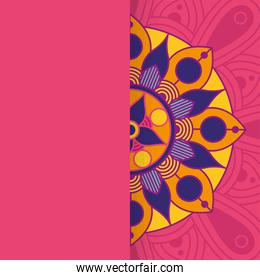 decorative floral colorful half mandala ethnicity artistic icon