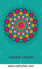 decorative floral mandala with blue background