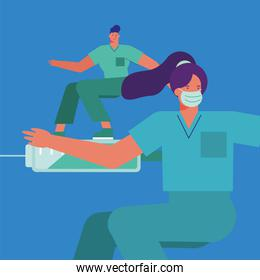 professional doctors couple wearing medical masks surfing in injections