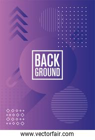 geometric figures and lines purple background