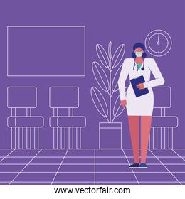 professional female doctor wearing medical mask with checklist
