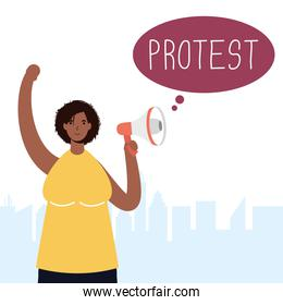 afro woman protesting with megaphone character