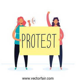 women protesting with megaphone and placard characters