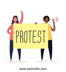 interracial women protesting with megaphone and placard characters