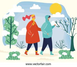 young couple wearing medical masks in winter season scene