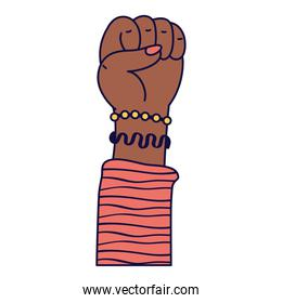 afro hand human fist protest icon