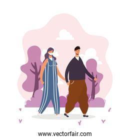 young couple wearing medical masks walking characters